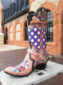 "A boot (painted by a local artist) at the Cheyenne Depot Plaza, part of the ""These Boots are Made for Talking"" joint project between the Cheyenne Depot Museum Foundation and the Downtown Development Authority."