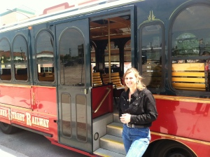 Our upbeat and knowledgeable trolley-tour guide, Val