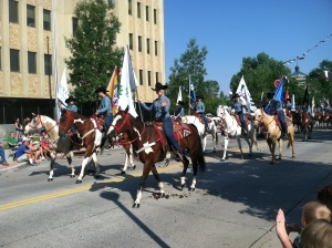 The parade takes place several times downtown during Cheyenne Frontier Days.