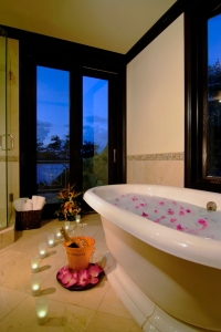 A romantic bath at Ixora Spa by L'OCCITANE, Scrub Island Resort, Spa & Marina, BVI